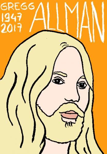 mort de gregg Allman, dessin, portrait, laurent jacquy,répertoire des macchabées célèbres,mort d'homme,