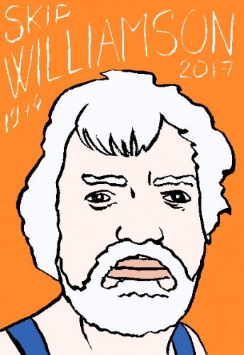mort dskip williamson, dessin, portrait, laurent jacquy,répertoire des macchabées célèbres,mort d'homme,