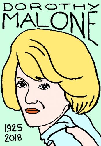 mort de Dorothy Malone, dessin, portrait, laurent jacquy,répertoire des macchabées célèbres,mort d'homme,