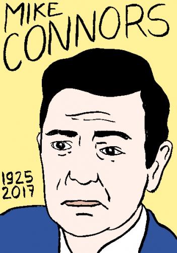 mort de mike connors dessin, portrait, laurent jacquy,répertoire des macchabées célèbres,mort d'homme,