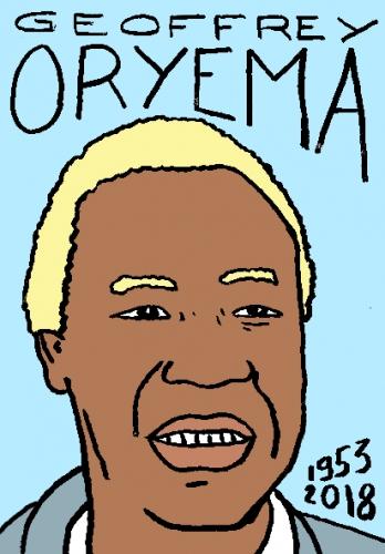 mort de Geoffrey Oryema, dessin, portrait, laurent jacquy,répertoire des macchabées célèbres,mort d'homme,