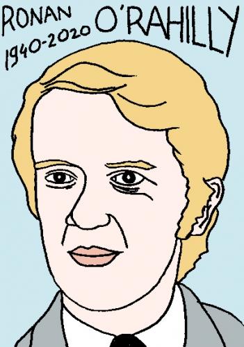mort de Ronan O'Rahilly, dessin, portrait, laurent jacquy,répertoire des macchabées célèbres,mort d'homme,