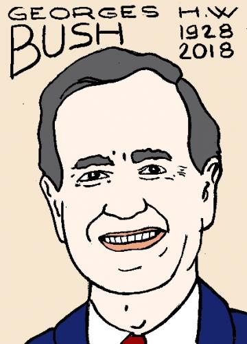 mort de Georges H.W. Bush, dessin, portrait, laurent jacquy,répertoire des macchabées célèbres,mort d'homme,