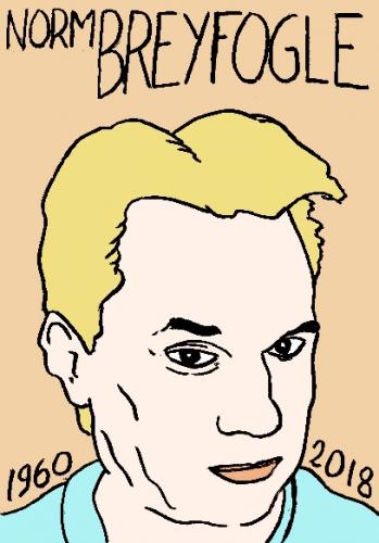 mort de norm breyfogle, dessin, portrait, laurent jacquy,répertoire des macchabées célèbres,mort d'homme,