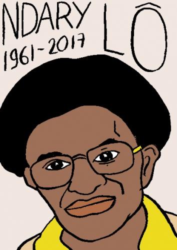 mort de Ndary Lô, dessin, portrait, laurent jacquy,répertoire des macchabées célèbres,mort d'homme,