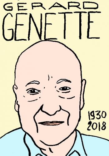 mort d'e Gérard Genette, dessin, portrait, laurent jacquy,répertoire des macchabées célèbres,mort d'homme,