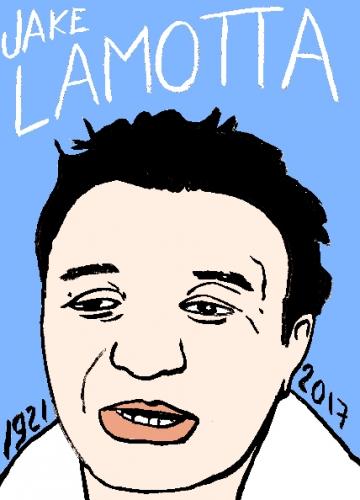 mort de Jake Lamotta, dessin, portrait, laurent jacquy,répertoire des macchabées célèbres,mort d'homme,