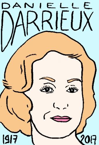 mort de Danielle Darrieux, dessin, portrait, laurent jacquy,répertoire des macchabées célèbres,mort d'homme,