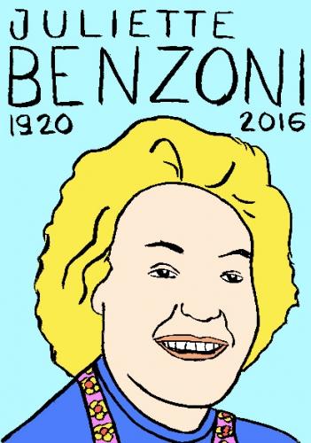 mort de juliette benzoni, dessin, portrait, laurent jacquy,répertoire des macchabées célèbres,mort d'homme,