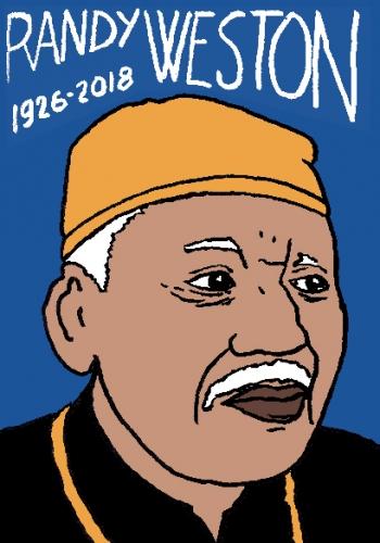 mort de randy weston, dessin, portrait, laurent jacquy,répertoire des macchabées célèbres,mort d'homme,