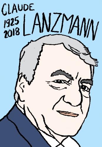 mort de claude Lanzmann, dessin, portrait, laurent jacquy,répertoire des macchabées célèbres,mort d'homme,
