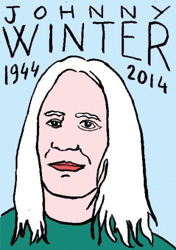 mort de johnny winter,dessin,portrait,laurent jacquy,répertoire des macchabées célèbres