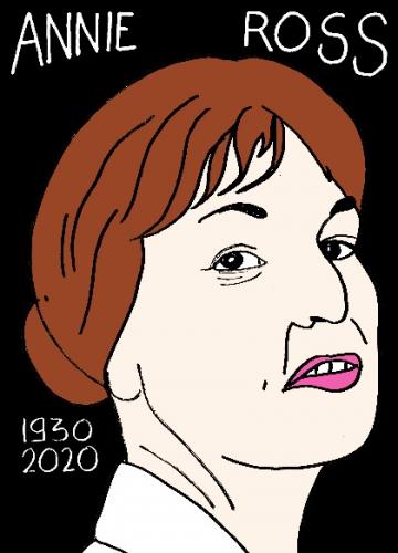 mort de D'annie Ross, dessin, portrait, laurent jacquy,répertoire des macchabées célèbres,mort d'homme,