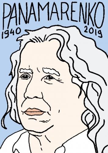 mort de Panamarenko, dessin, portrait, laurent jacquy,répertoire des macchabées célèbres,mort d'homme,