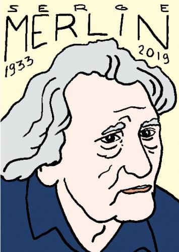 mort de serge merlin, dessin, portrait, laurent jacquy,répertoire des macchabées célèbres,mort d'homme,