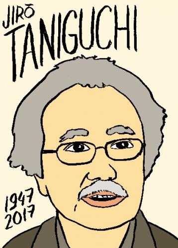 mort dd Jiro Taniguchi dessin, portrait, laurent jacquy,répertoire des macchabées célèbres,mort d'homme,