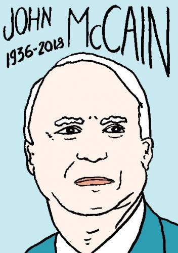 mort de john McCain, dessin, portrait, laurent jacquy,répertoire des macchabées célèbres,mort d'homme,