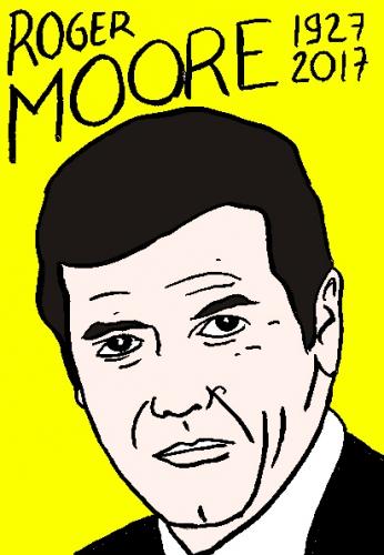 mort de Roger Moore, dessin, portrait, laurent jacquy,répertoire des macchabées célèbres,mort d'homme,