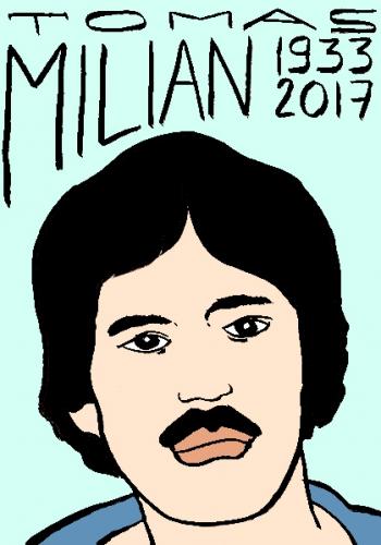 mort de tomas milian dessin, portrait, laurent jacquy,répertoire des macchabées célèbres,mort d'homme,