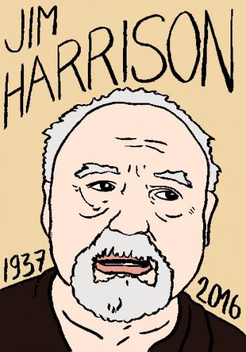 mort de jim harrison, dessin, portrait, laurent jacquy,répertoire des macchabées célèbres,mort d'homme,
