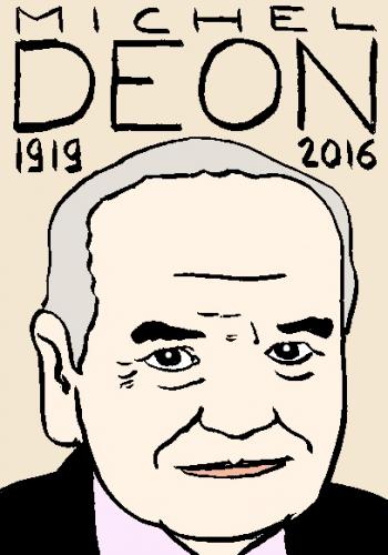 mort de michel Déon, dessin, portrait, laurent jacquy,répertoire des macchabées célèbres,mort d'homme,