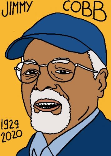 mort de JimmyCobb, dessin, portrait, laurent jacquy,répertoire des macchabées célèbres,mort d'homme,