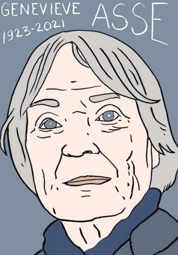 mort de Geneviève Asse,dessin,portrait,laurent Jacquy