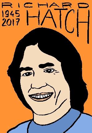 mort de richard hatch, dessin, portrait, laurent jacquy,répertoire des macchabées célèbres,mort d'homme,