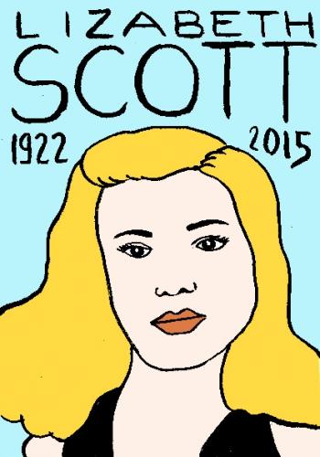 mort de lisabeth scott, dessin, portrait, laurent jacquy,répertoire des macchabbées célèbres, mort d(homme