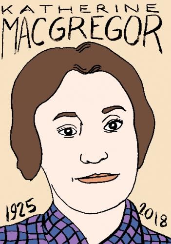 mort de Katherine MacGregor, dessin, portrait, laurent jacquy,répertoire des macchabées célèbres,mort d'homme,