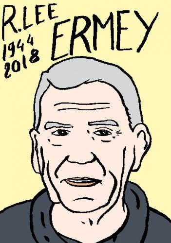 mort de R. Lee Ermey, dessin, portrait, laurent jacquy,répertoire des macchabées célèbres,mort d'homme,