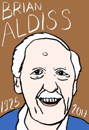 mort de Brian Aldiss, dessin, portrait, laurent jacquy,répertoire des macchabées célèbres,mort d'homme,