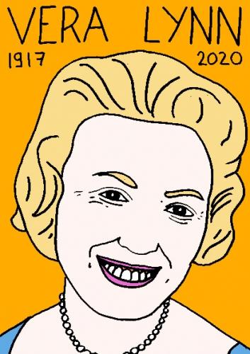 mort de Vera Lynn, dessin, portrait, laurent jacquy,répertoire des macchabées célèbres,mort d'homme,
