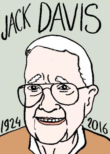 mort de jack davis, dessin, portrait, laurent jacquy,répertoire des macchabées célèbres,mort d'homme,