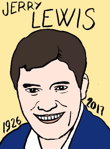 mort de Jerry Lewis, dessin, portrait, laurent jacquy,répertoire des macchabées célèbres,mort d'homme,