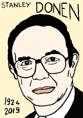 mort de stanley donen, dessin, portrait, laurent jacquy,répertoire des macchabées célèbres,mort d'homme,