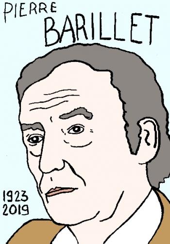 mort de pierre barillet, dessin, portrait, laurent jacquy,répertoire des macchabées célèbres,mort d'homme,