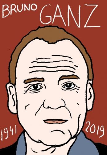 mort de Bruo Ganz, dessin, portrait, laurent jacquy,répertoire des macchabées célèbres,mort d'homme,