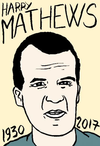mort d'harry Mathews, dessin, portrait, laurent jacquy,répertoire des macchabées célèbres,mort d'homme,