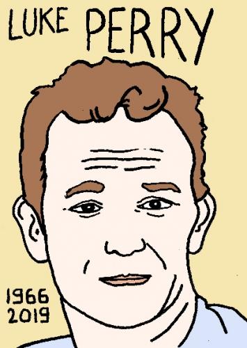 mort de Luke Perry, dessin, portrait, laurent jacquy,répertoire des macchabées célèbres,mort d'homme,