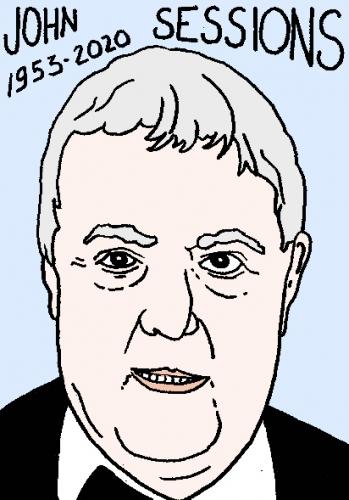 mort de john sessions, dessin, portrait, laurent jacquy,répertoire des macchabées célèbres,mort d'homme,
