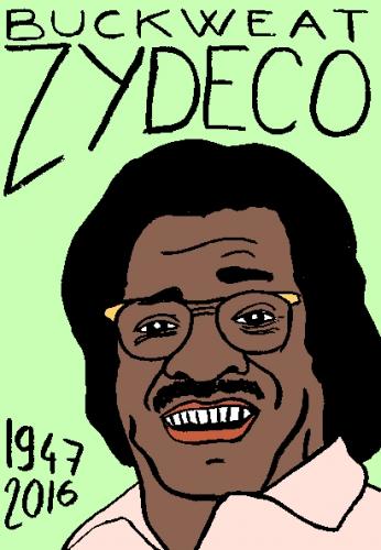 mort de buckweat zydeco, dessin, portrait, laurent jacquy,répertoire des macchabées célèbres,mort d'homme,