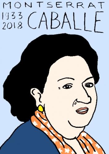 mort de Montserrat Caballé, dessin, portrait, laurent jacquy,répertoire des macchabées célèbres,mort d'homme,