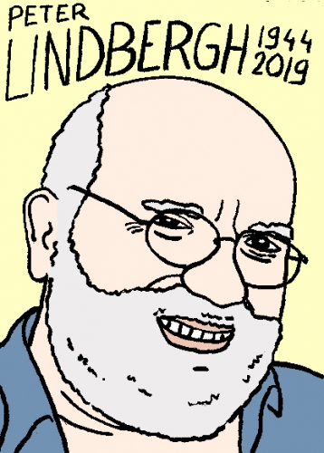 mort de Peter Lindbergh, dessin, portrait, laurent jacquy,répertoire des macchabées célèbres,mort d'homme,