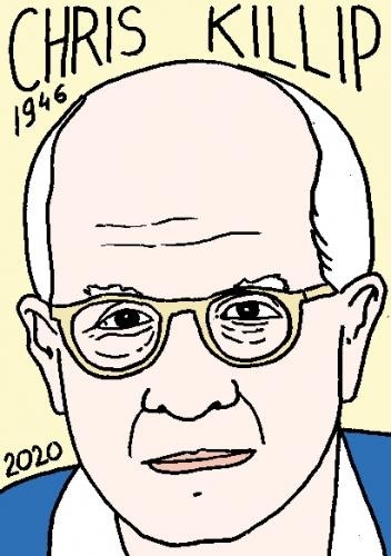 mort de Chris Killip, dessin, portrait, laurent jacquy,répertoire des macchabées célèbres,mort d'homme,