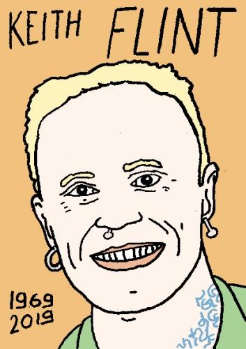 mort de Keith Flint, dessin, portrait, laurent jacquy,répertoire des macchabées célèbres,mort d'homme,
