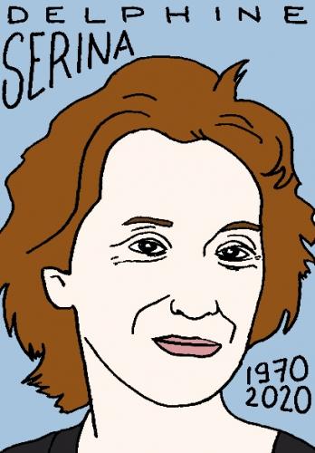 mort de Delphine Serina, dessin, portrait, laurent jacquy,répertoire des macchabées célèbres,mort d'homme,