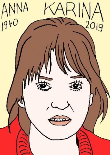 mort d'anna Karina, dessin, portrait, laurent jacquy,répertoire des macchabées célèbres,mort d'homme,