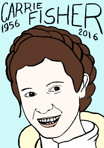 mort de Carrie Fisher, dessin, portrait, laurent jacquy,répertoire des macchabées célèbres,mort d'homme,