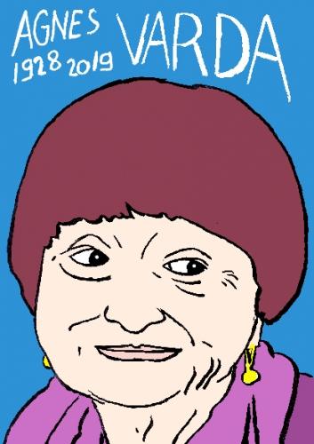 mort de Agnès Varda, dessin, portrait, laurent jacquy,répertoire des macchabées célèbres,mort d'homme,